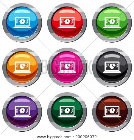 Laptop with business graph set icon isolated on white. 9 icon collection vector illustration