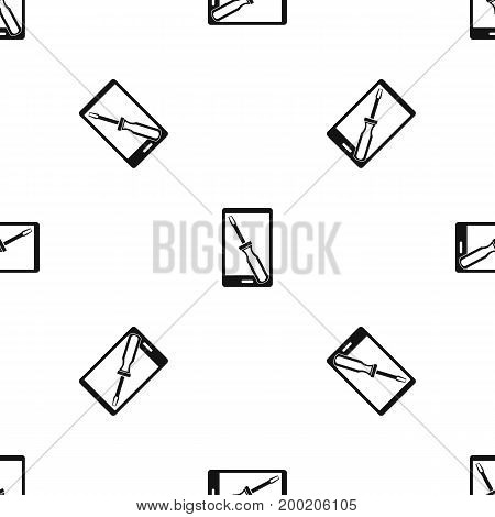 Renovation phone pattern repeat seamless in black color for any design. Vector geometric illustration