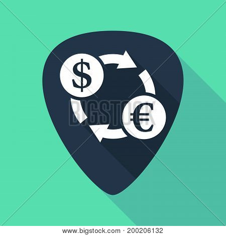 Long Shadow Plectrum With A Dollar Euro Exchange Sign