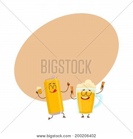 Funny beer can and mug characters having fun, drinking, celebrating together, cartoon vector illustration with space for text. Funny beer can and mug characters with smiling human faces