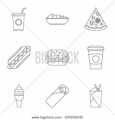 Fast food icon set. Outline style set of 9 fast food vector icons for web isolated on white background