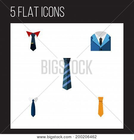 Flat Icon Necktie Set Of Suit, Cravat, Tailoring And Other Vector Objects