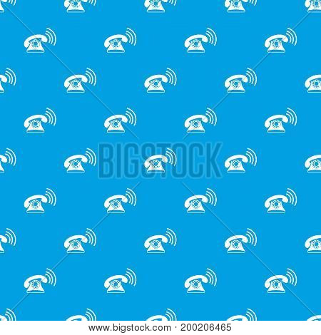 Retro phone pattern repeat seamless in blue color for any design. Vector geometric illustration