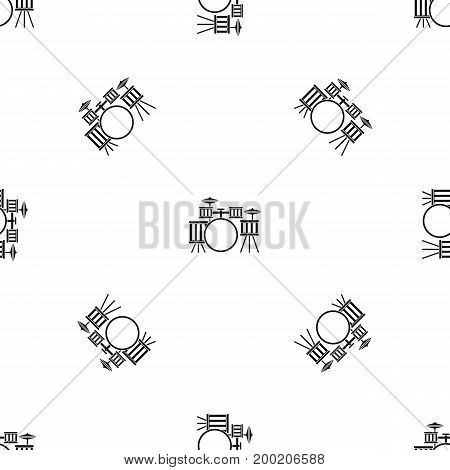 Drum kit pattern repeat seamless in black color for any design. Vector geometric illustration