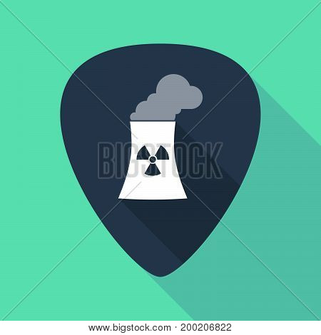Long Shadow Plectrum With A Nuclear Power Station