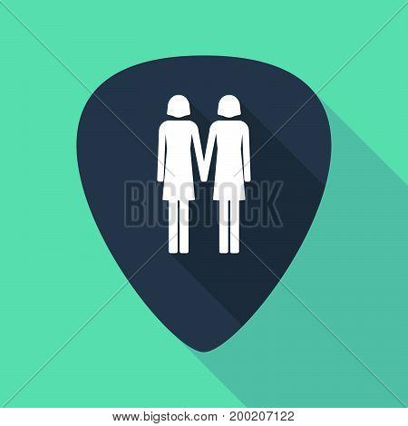 Long Shadow Plectrum With A Lesbian Couple Pictogram