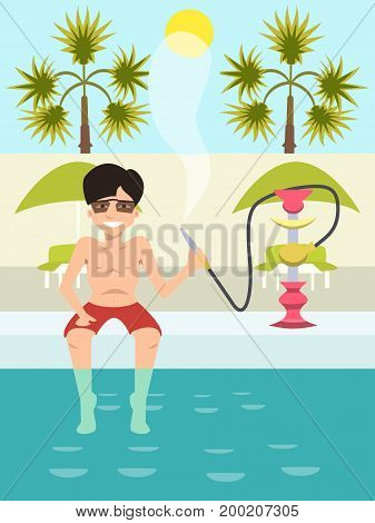 guy sitting by the pool with nargile- funny vector cartoon illustration