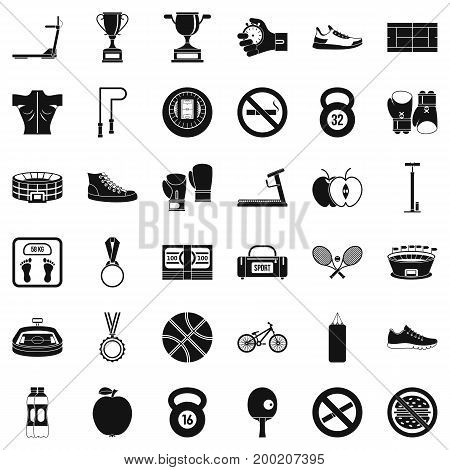 Boxing man icons set. Simple style of 36 boxing man vector icons for web isolated on white background