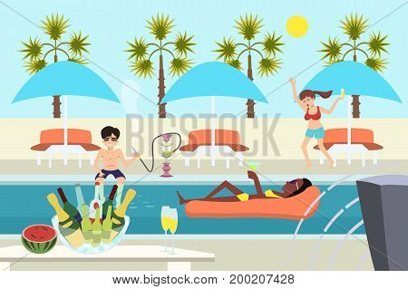 young people enjoying at pool party - funny vector cartoon illustration