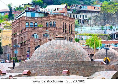 Tbilisi, Georgia - April 29, 2017: Sulphur baths, traditional houses in Old Town of Tbilisi