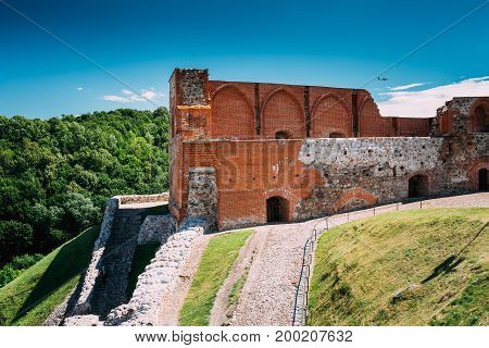 Vilnius, Lithuania. The Remains Of The Keep Of The Upper Castle In Gediminas Hill In Summer Day.  UNESCO World Heritage Site