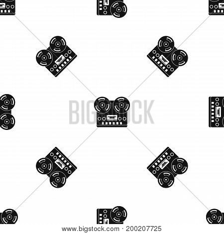 Retro tape recorder pattern repeat seamless in black color for any design. Vector geometric illustration
