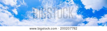 panorama sky cloud vivid and form storm summer time beautiful background with copy space add text