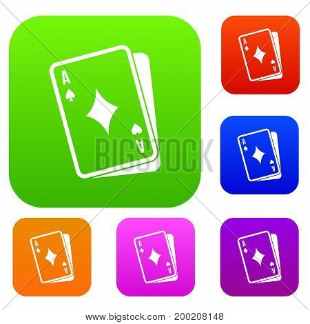 Playing card set icon in different colors isolated vector illustration. Premium collection