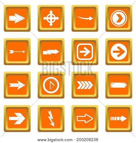 Arrow icons set in orange color isolated vector illustration for web and any design