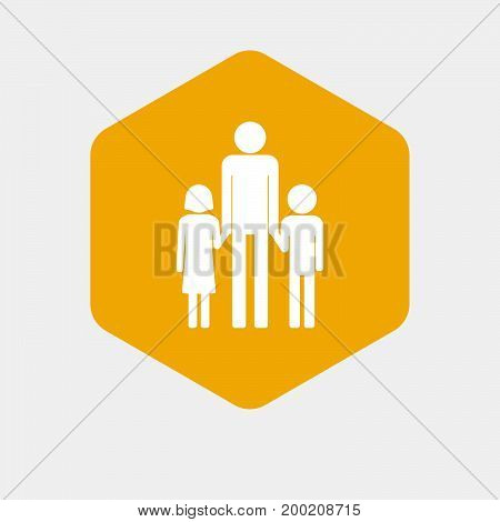 Isolated Hexagon With A Male Single Parent Family Pictogram