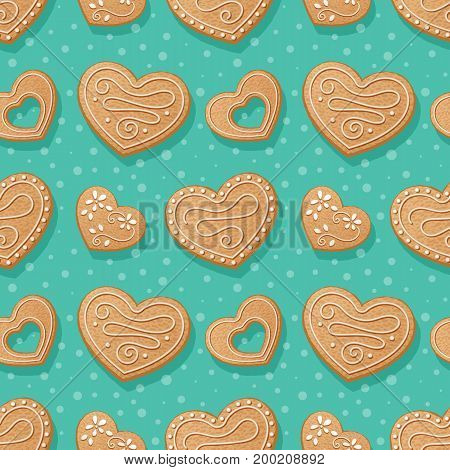Seamless pattern with gingerbread hearts. Vector Illustration