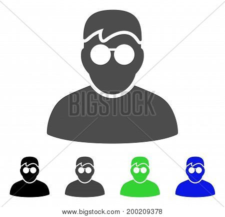 Boy flat vector pictograph. Colored boy, gray, black, blue, green icon versions. Flat icon style for graphic design.