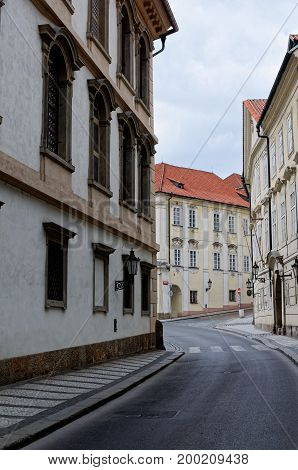 Old tenements. with red roofs Czech Rpublic, Prague