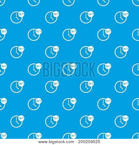 Clock 24 7 pattern repeat seamless in blue color for any design. Vector geometric illustration