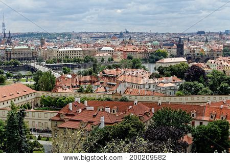 Bird's-eye view on buildings and red roofs, Prague city.