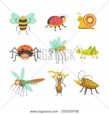 Cartoon insects and funny bugs of smiling bumblebee, bee or butterfly or dragonfly, ladybug or spider with caterpillar, ant and snail for kid design elements. Vector isolated character icons