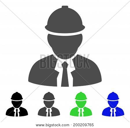 Engineer flat vector pictograph. Colored engineer, gray, black, blue, green pictogram variants. Flat icon style for application design.