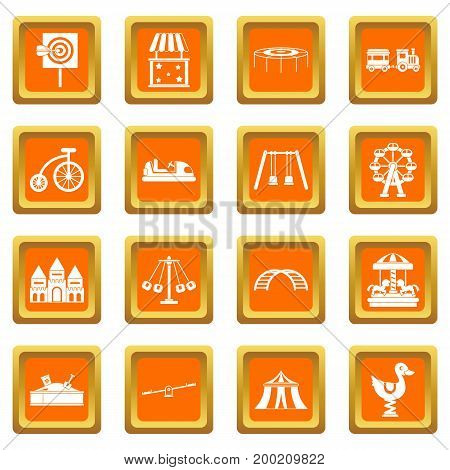 Amusement park icons set in orange color isolated vector illustration for web and any design