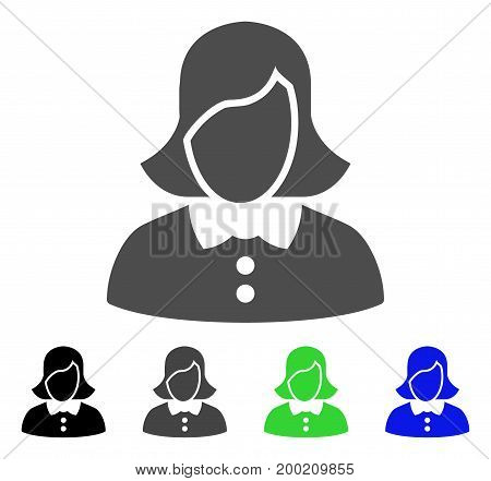 Female flat vector illustration. Colored female, gray, black, blue, green icon variants. Flat icon style for web design.
