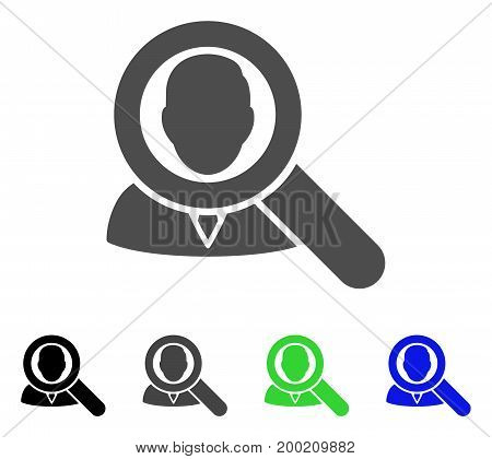 Find User flat vector pictogram. Colored find user, gray, black, blue, green pictogram versions. Flat icon style for graphic design.
