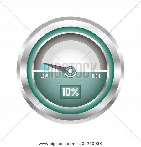 Modern speedometer in metal corpus that shows speed level in percentage and on on scale with arrow that moves between low and high indicators isolated cartoon vector illustration on white background.