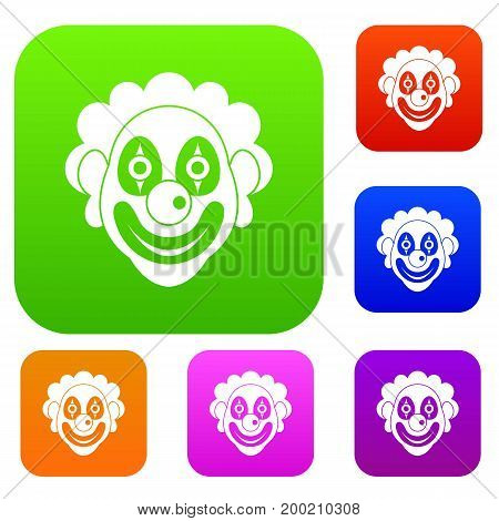 Clown set icon in different colors isolated vector illustration. Premium collection