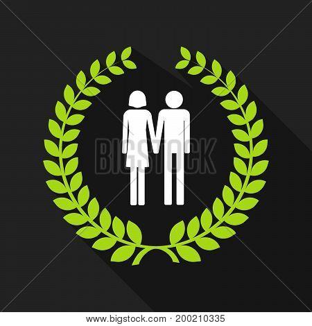 Long Shadow Laurel Wreath With A Heterosexual Couple Pictogram