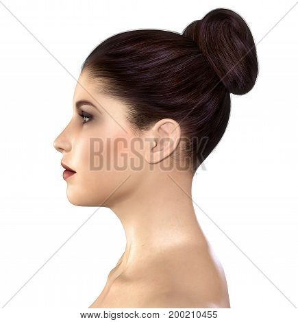 Amazing realistic 3D render beautiful profile face of a young woman with a clean fresh skin tone.