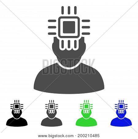 Neuro Interface flat vector pictogram. Colored neuro interface, gray, black, blue, green pictogram variants. Flat icon style for application design.