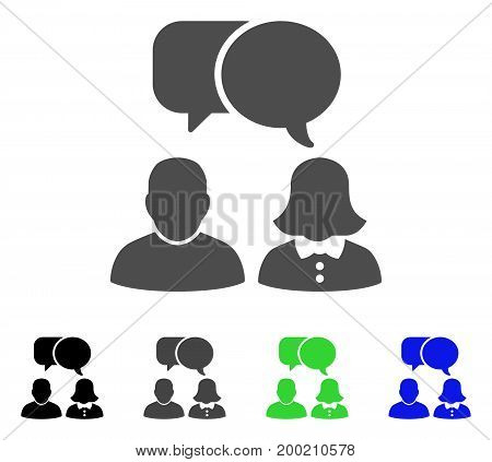 People Chat flat vector pictogram. Colored people chat, gray, black, blue, green pictogram versions. Flat icon style for graphic design.
