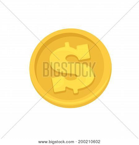 Golden coins symbol of dollars, banking currency, investment, payment or wealth. Vector business finance signs. Flat icons isolated on white background.