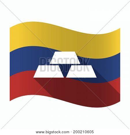 Isolated Venezuela Flag With Three Gold Bullions