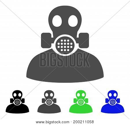 Toxic Work flat vector illustration. Colored toxic work, gray, black, blue, green icon versions. Flat icon style for web design.