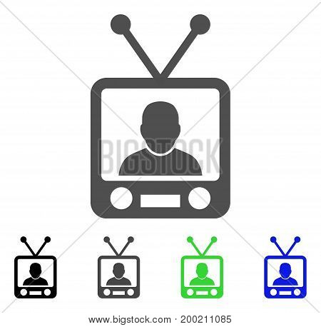 TV News flat vector pictograph. Colored TV news, gray, black, blue, green icon versions. Flat icon style for graphic design.