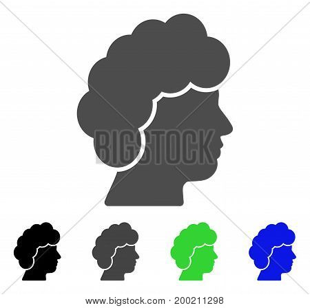Woman Profile flat vector pictograph. Colored woman profile, gray, black, blue, green icon versions. Flat icon style for web design.