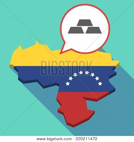 Long Shadow Venezuela Map With Three Gold Bullions