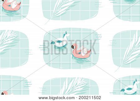 Hand drawn vector abstract cartoon summer time fun illustration seamless pattern print with pink flamingo and unicorn buoy ring in blue swimming pool texture isolated on white background.