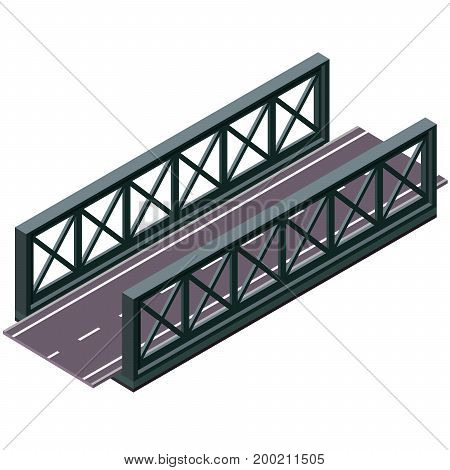 Vector bridge in isometric 3d perspective isolated on white background. Industrial transportation building. Metallic architecture. Asphalt road steel bridge. Assembled riveted bridge construction.