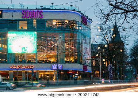 Tallinn, Estonia - December 3, 2016: Evening View Of Cultural And Commercial Shopping Center Solaris. Shopping Center Located In The Center Of Tallinn Between Estonian Boulevard And Ravala Boulevard