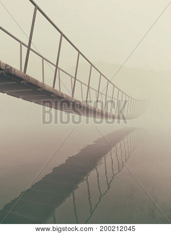 Bridge old wood over water. This is a 3d render illustration