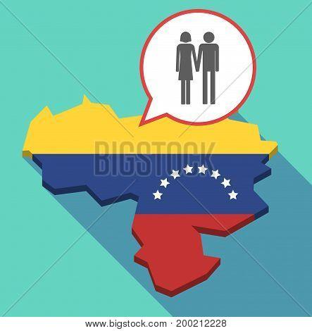 Long Shadow Venezuela Map With A Heterosexual Couple Pictogram