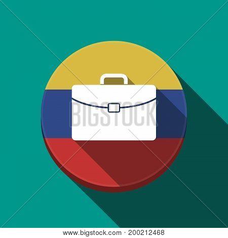 Long Shadow Venezuela Button With  A Briefcase