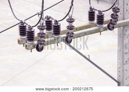 Electricity porcelain insulator on pole with copy space add text ( top view )