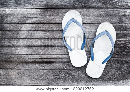 Shoe Slippers on old wooden floor,White sandal